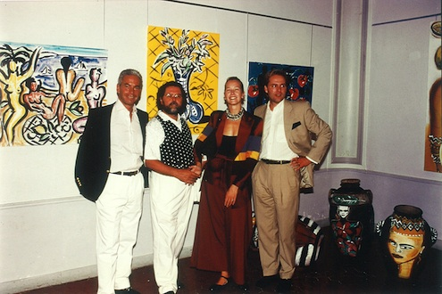 Szczesny with his wife Eva, Heino Stamm and the galerist Michael Beck at an exhibition at the Ambassade in Saint-Tropez