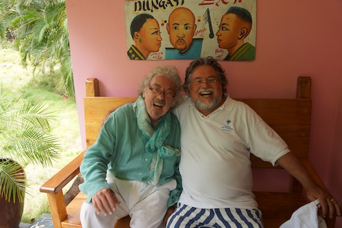 Stefan Szczesny and Felix Dennis on Mustique, 2013