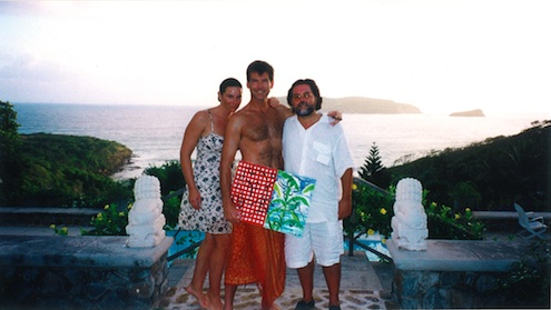 Szczesny with Pierce and Keely Brosnan on Mustique